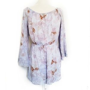 Mossimo M Romper floral long sleeve blue lilac
